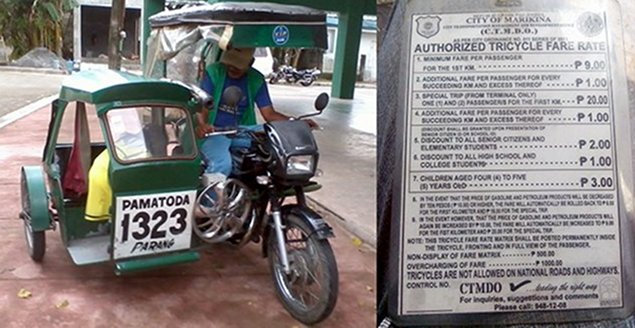 Click to see a larger image of the Authorized Tricycle Fares