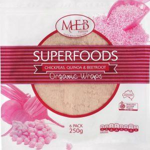 M.E.B Organic Wraps - Chickpeas, Quinoa & Beetroot 6s Image