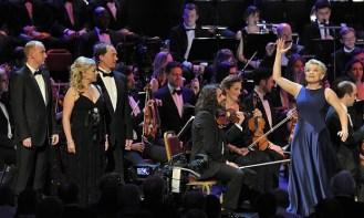 Lucy Schauffer (far right) performs Bernstein's Island Magic alongside jazz trio (L-R) Stuart Matthew Price, Sarah Ryan and Mark Meadows.