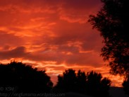 Red sky at sunset, intense color due to smoke from forest fires. Susanville California