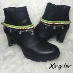 pulsera botas estrella verde y etnico floral par