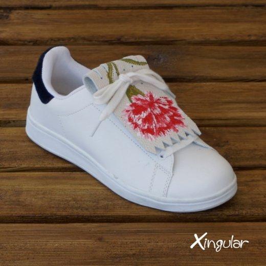 flecos zapatillas claveles rojos