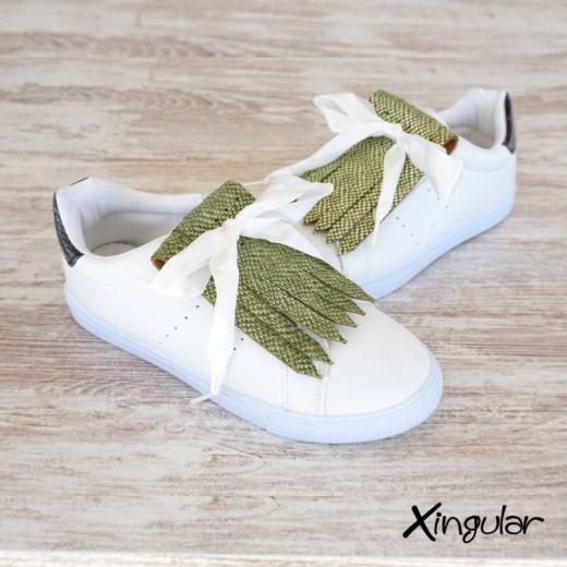 flecos zapatillas escamas pistacho metalizadas par