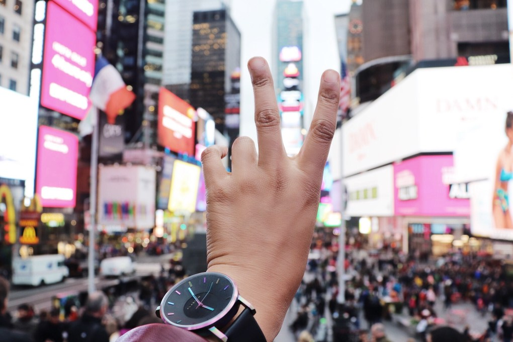 peace sign in times square