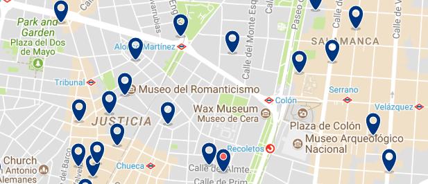 Dónde dormir en Madrid para vida nocturna - Chueca - Haz clic aquí para ver todos los hoteles en un mapa
