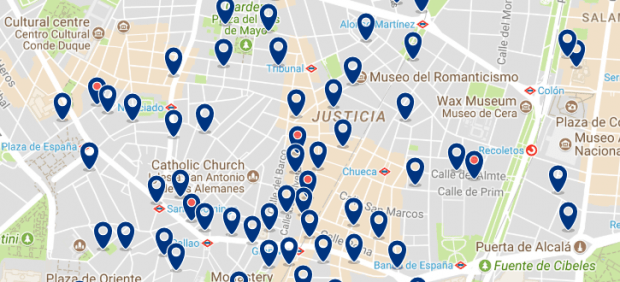Dónde dormir en Madrid para vida nocturna - Malasaña - Haz clic aquí para ver todos los hoteles en un mapa