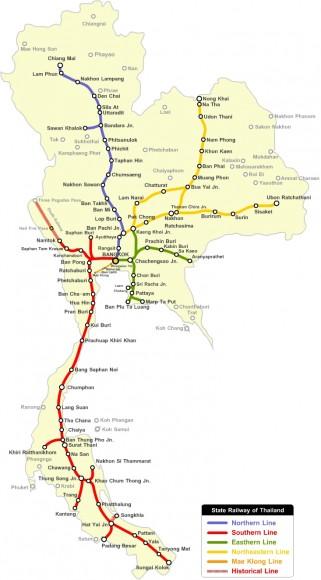 Mapa de trenes de Tailandia