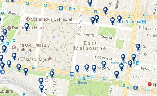East Melbourne - Haz clic para ver todos los hoteles en un mapa