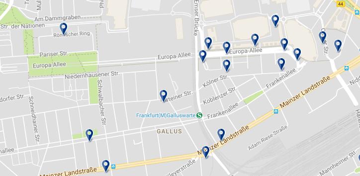 Frankfurt - Gallusviertel - Haz clic para ver todos los hoteles en un mapa