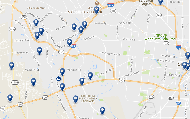 West San Antonio - Haz clic para ver todos los hoteles en un mapa