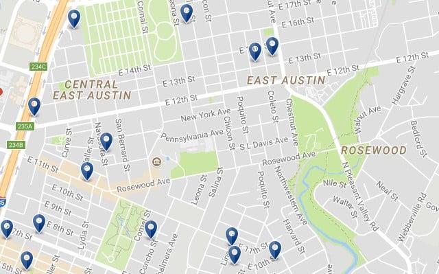 East Austin - Haz clic para ver todos los alojamientos en un mapa