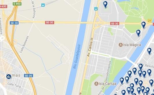 Isla de la Cartuja, Sevilla - Haz clic para ver todos los alojamientos en un mapa