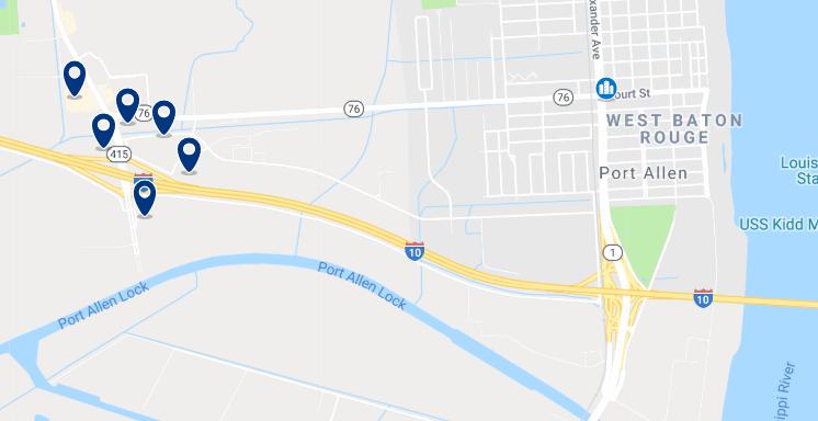 Baton Rouge - Port Allen - Haz clic para ver todos los hoteles en un mapa