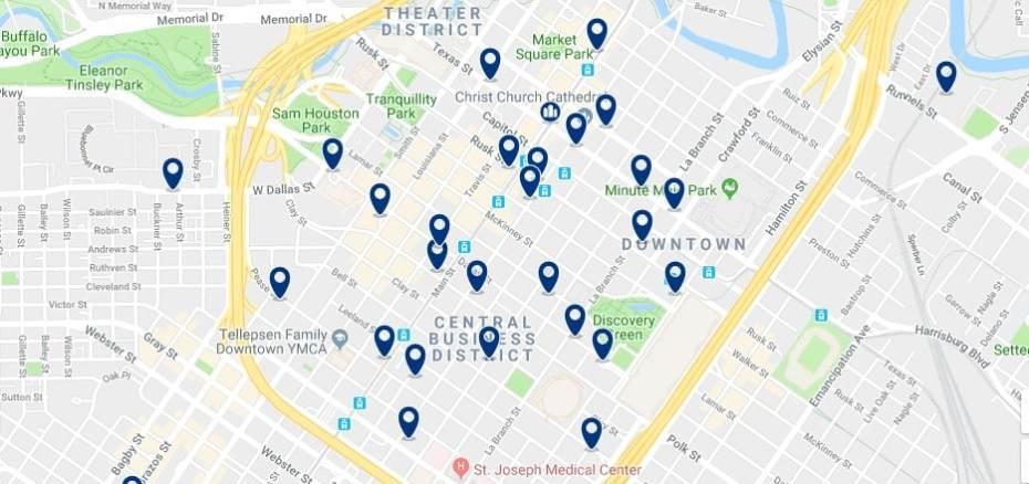 Houston - Downtown - Haz clic para ver todos los hoteles en un mapa