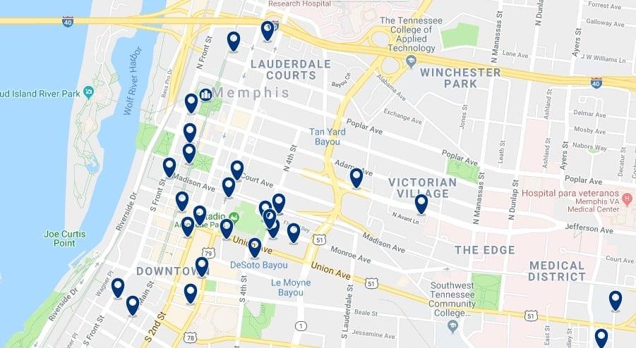 Memphis - Downtown - Haz clic para ver todos los hoteles en un mapa