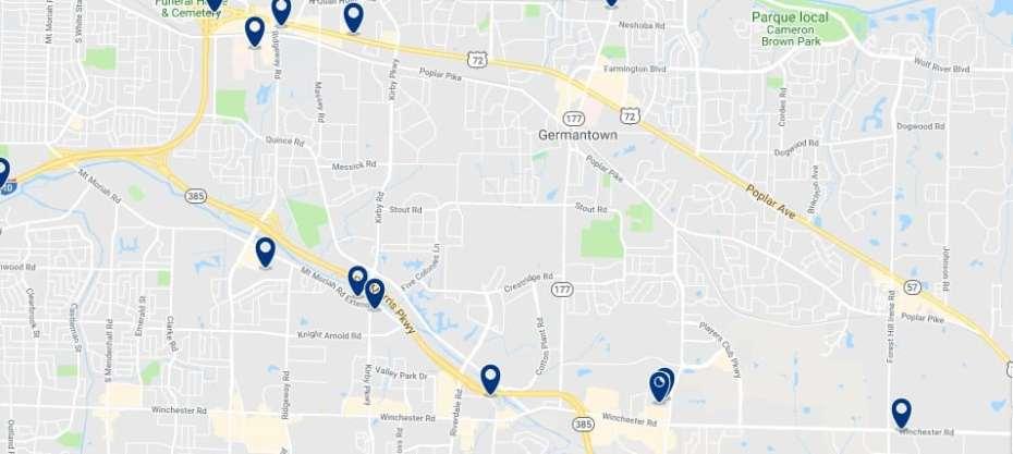 Memphis - Germantown - Haz clic para ver todos los hoteles en un mapa