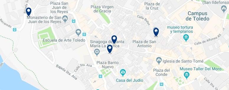 Toledo -Judería - Haz clic para ver todos los hoteles en un mapa