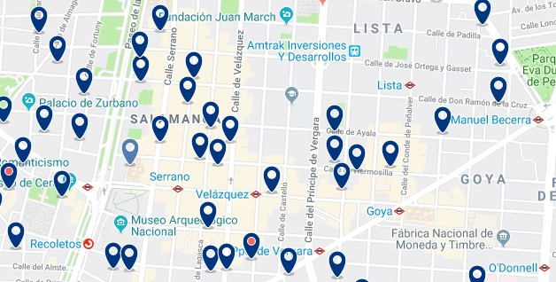 Madrid - Salamanca - Haz clic para ver todos los hoteles en un mapa