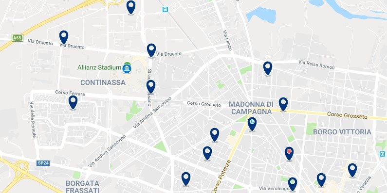 Torino - Cerca del estadio de la Juventus - Clica sobre el mapa para ver todo el alojamiento en esta zona