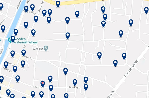 Siem Reap - Alrededores del Wat Bo - Haz clic para ver todos los hoteles en un mapa