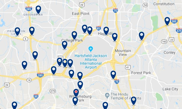 Atlanta - Aeropuerto - Haz clic para ver todos los hoteles en un mapa