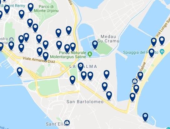 Cagliari - Spiaggia del Poetto - Clica sobre el mapa para ver todo el alojamiento en esta zona