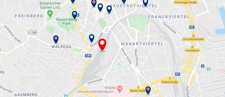 Linz - Hauptbahnhof - Clica sobre el mapa para ver todo el alojamiento en esta zona