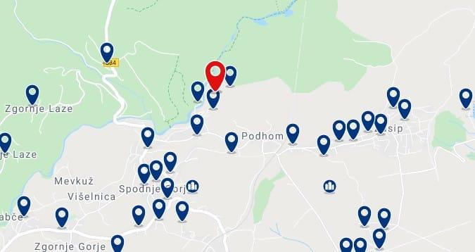 Bled - Garganta de Vintgar - Clica sobre el mapa para ver todo el alojamiento en esta zona