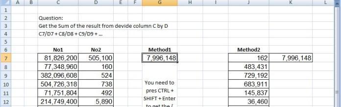 Sum of divide – Array formula