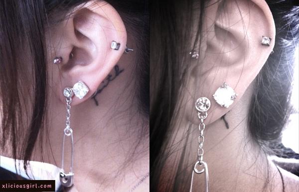 harajuku lovers earrings on my left ear