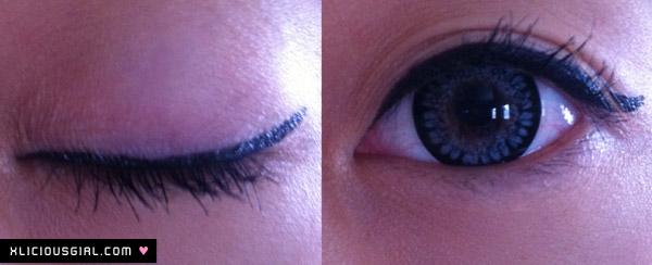 stila liquid eyeliner how it looks on my eye