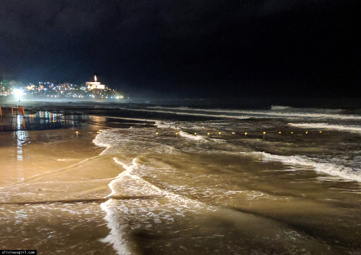 Tel Aviv beach at night