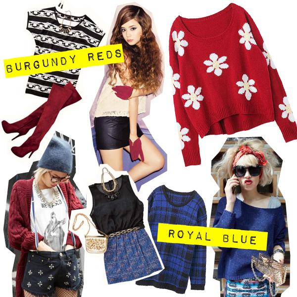 september 2013 gyaru fashion trends burgundy reds and royal blues