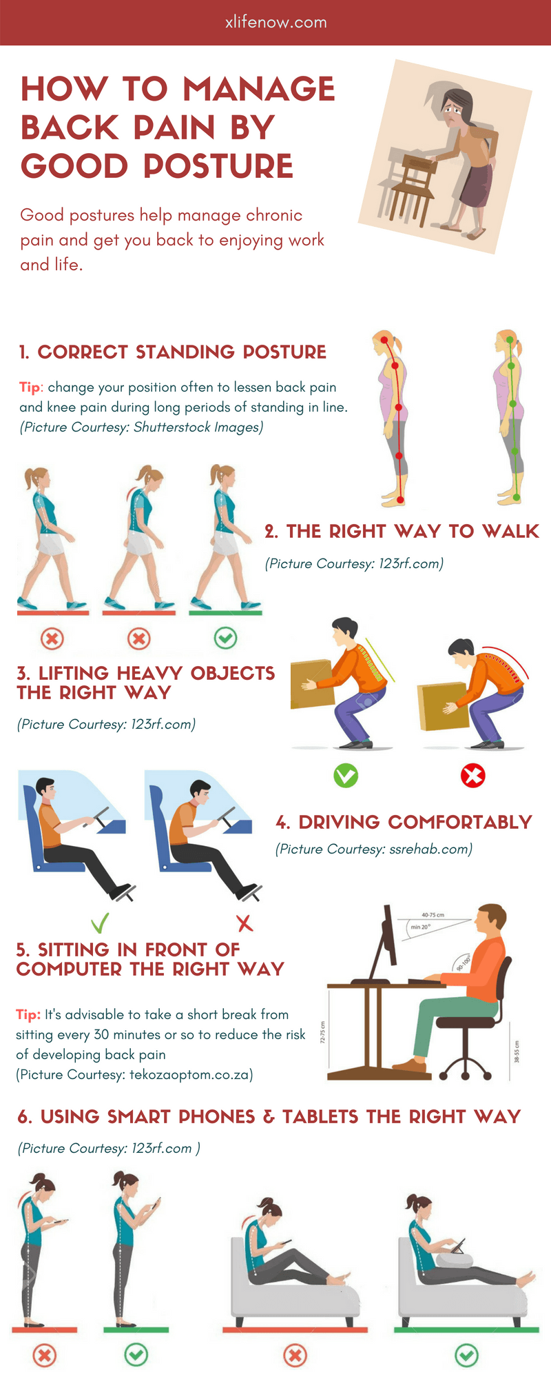 How to manage Back Pain by Good Posture Infographic