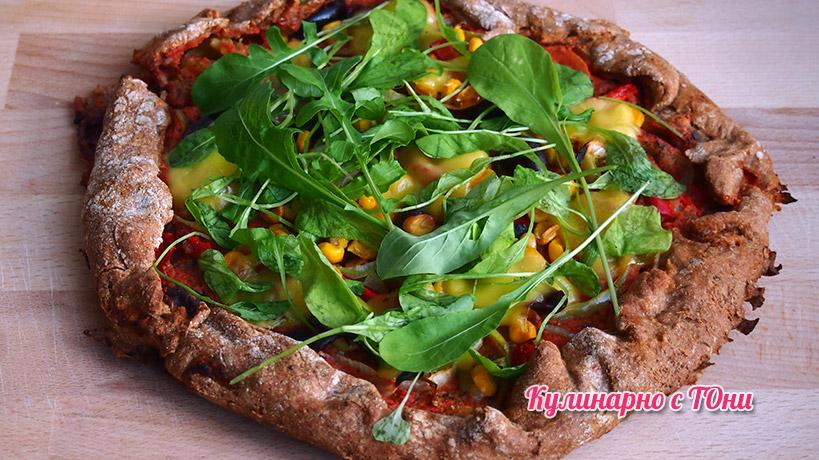 Веган пица с кашкавал и рукола