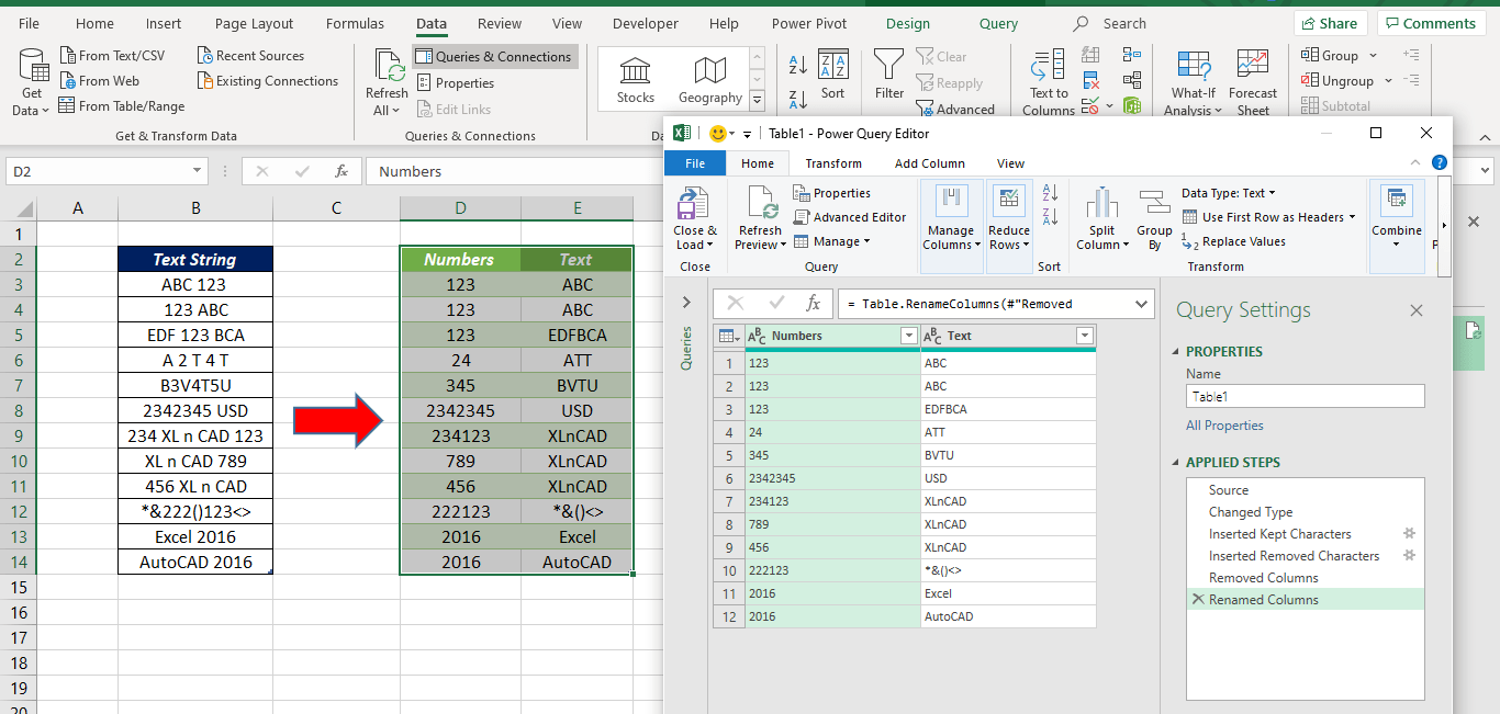 Extract Text and Number in Excel
