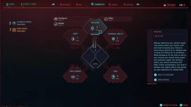 Cyberpunk 2077 Attributes, Skills & Perks