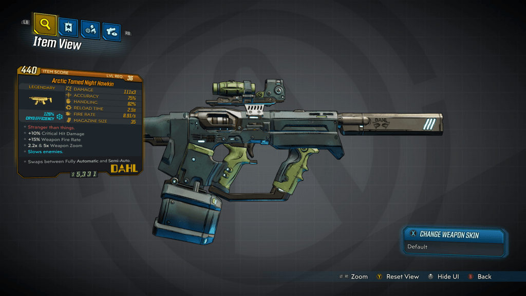 Arctic Tamed Night Hawkin legendary Weapon