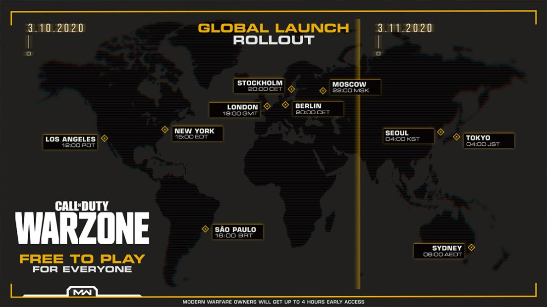 Warzone release times