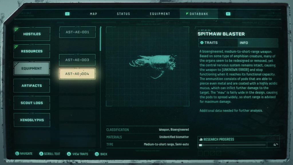Returnal Weapons: All Returnal Weapons Returnal Weapons SpitmawBlasterEntry