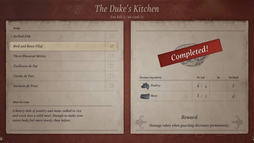 Resident Evil Village All Recipes
