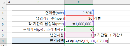 엑셀 FV함수