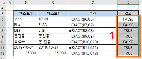 엑셀함수 EXACT