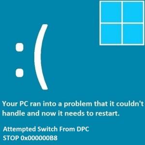 Как исправить ошибку «Попытка переключения с DPC»