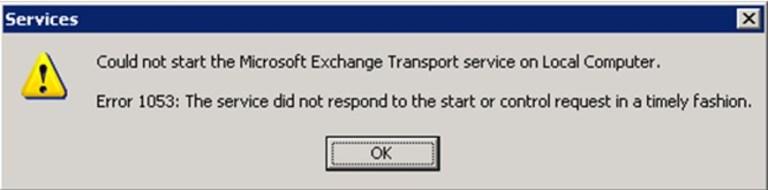 Ошибка 1053 банка данных Microsoft Exchange при запуске