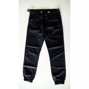 Popcorn Chino Pants – Black with elastic cuff