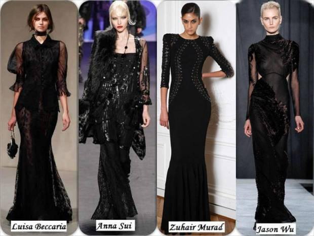 Rochii lungi negre si eleganete iarna 2015