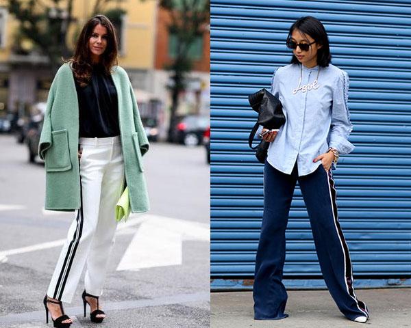 Pantaloni eleganti cu lampasuri