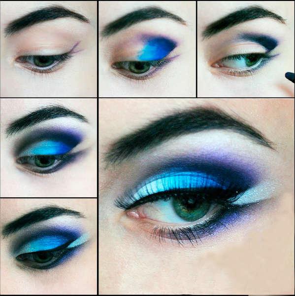 Machiaj cu albastru pentru ochi verzi
