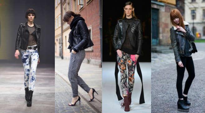 Cum se poarta geaca de piele biker cu leggins sau pantaloni
